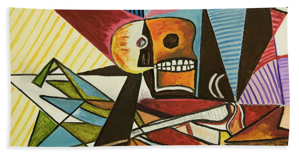Bright Colors Hand Towel featuring the painting Skull And Bones by Neil Gallagher
