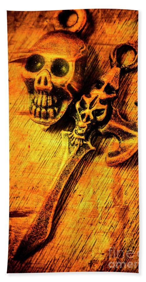 Skull Bath Towel featuring the photograph Skull And The Sword by Jorgo Photography - Wall Art Gallery