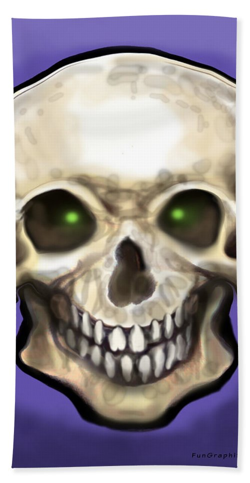Skull Hand Towel featuring the painting Skull by Kevin Middleton
