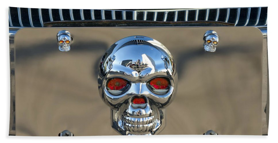 Skull License Plate Bath Sheet featuring the photograph Skull License Plate by Jill Reger