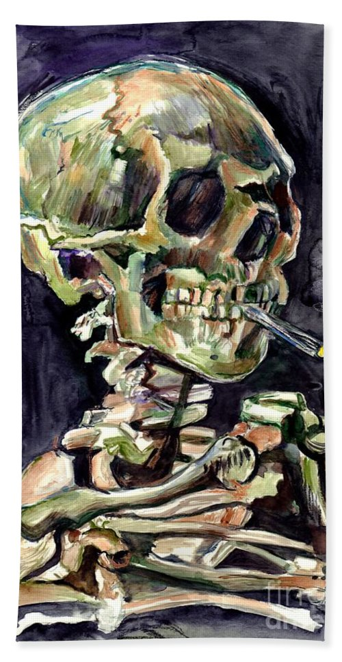 Watercolour Bath Towel featuring the painting Skull Of A Skeleton With Burning Cigarette by Suzann Sines