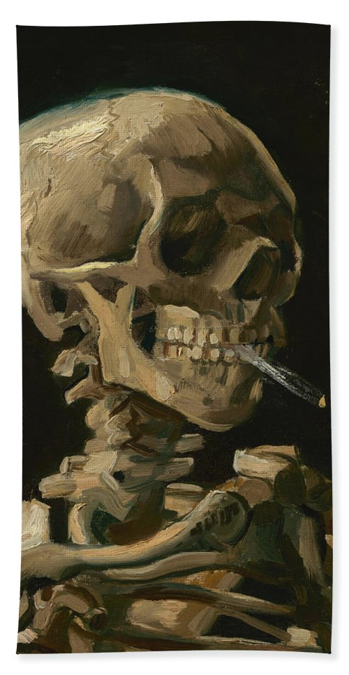 2304c066 Van Gogh Bath Towel featuring the painting Skull Of A Skeleton With Burning  Cigarette - Vincent