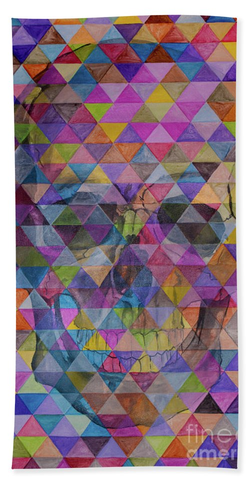 Skull Bath Sheet featuring the painting Skull Triangle by Jamie Bishop