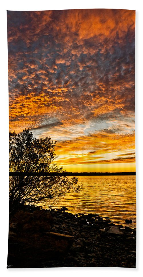 Sunset Hand Towel featuring the photograph Sky Afire by Christopher Holmes