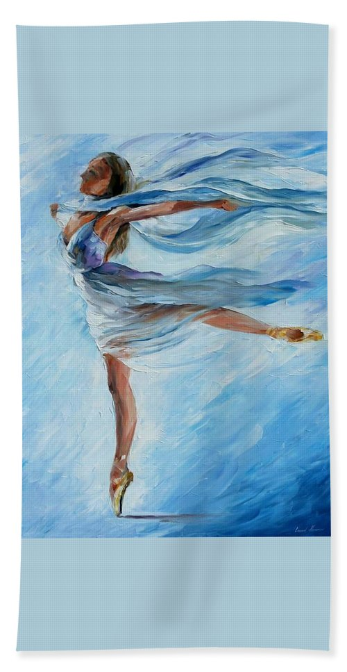 Ballet Hand Towel featuring the painting Sky Dance by Leonid Afremov