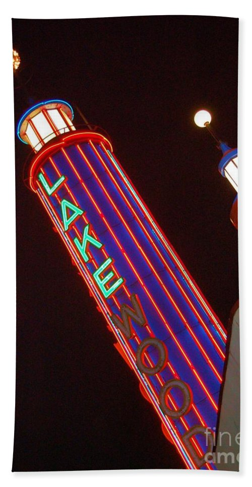 Neon Hand Towel featuring the photograph Sky Lights by Debbi Granruth