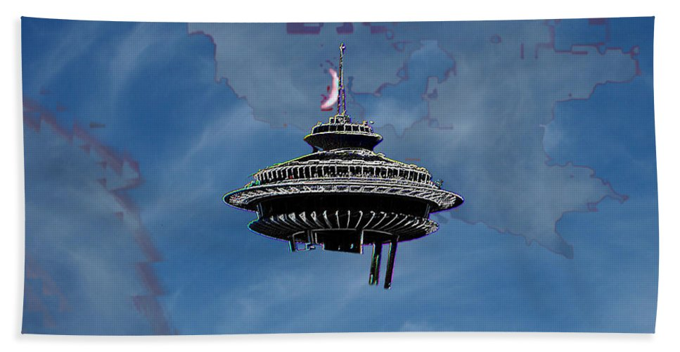 Seattle Hand Towel featuring the photograph Sky Needle by Tim Allen