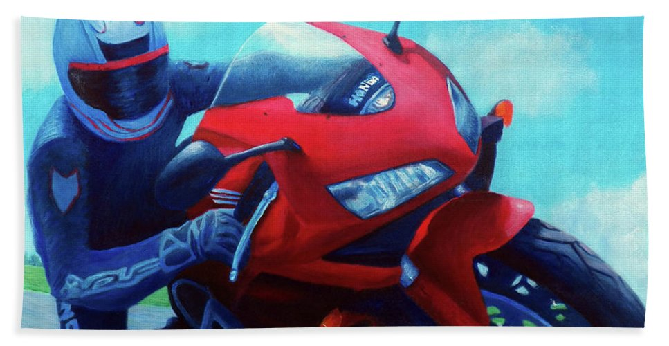 Motorcycle Bath Towel featuring the painting Sky Pilot - Honda Cbr600 by Brian Commerford