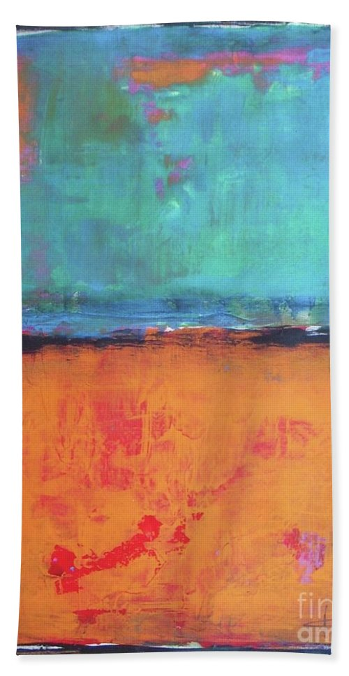 Abstract Hand Towel featuring the painting Sky Sky by Vesna Antic