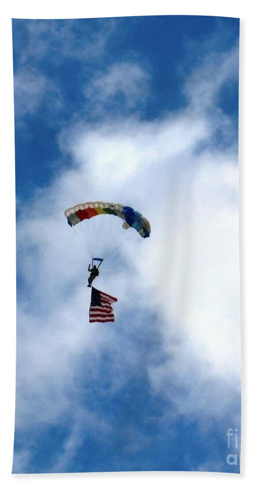 Skydiver Hand Towel featuring the photograph Skydiver With Flag by Marta Robin Gaughen