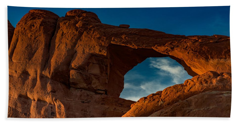 Skyline Arch Hand Towel featuring the photograph Skyline Arch At Sunset by Rick Berk