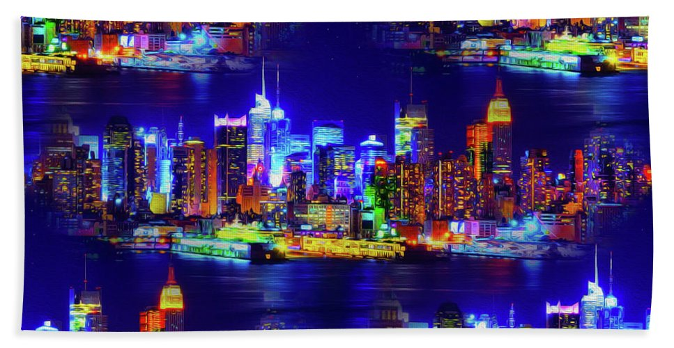 World's Hand Towel featuring the digital art Skyline Island by Ron Fleishman