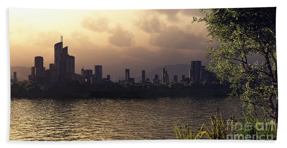Cities Bath Towel featuring the digital art Skyline Lake by Richard Rizzo