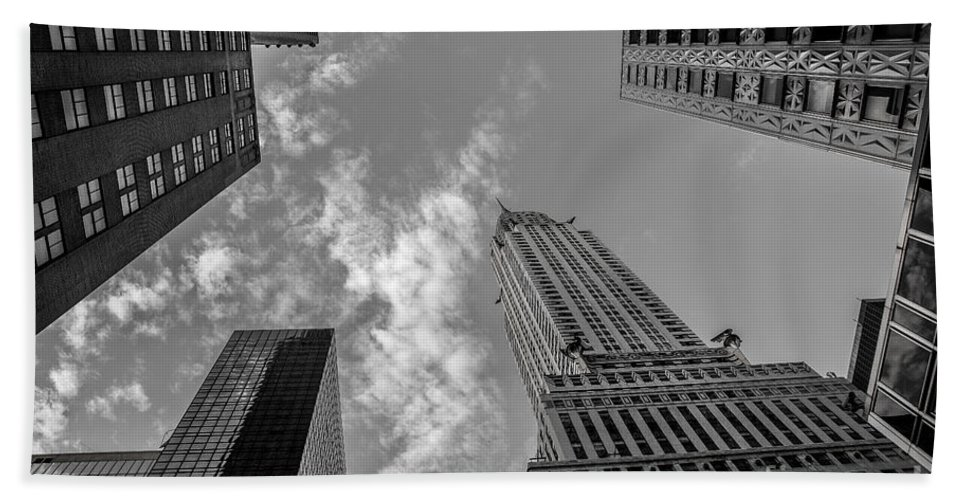 Flatiron Building Bath Sheet featuring the photograph Skytops Manhattan Black And White by Alissa Beth Photography