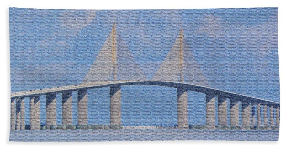 Bridge Bath Sheet featuring the photograph Skyway Bridge by Rosalie Scanlon