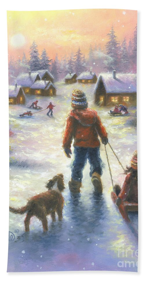 Snow Hand Towel featuring the painting Sledding To The Village by Vickie Wade