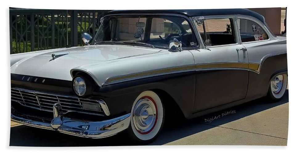 Ford Bath Sheet featuring the photograph Sleek 57 Fairlane by DigiArt Diaries by Vicky B Fuller
