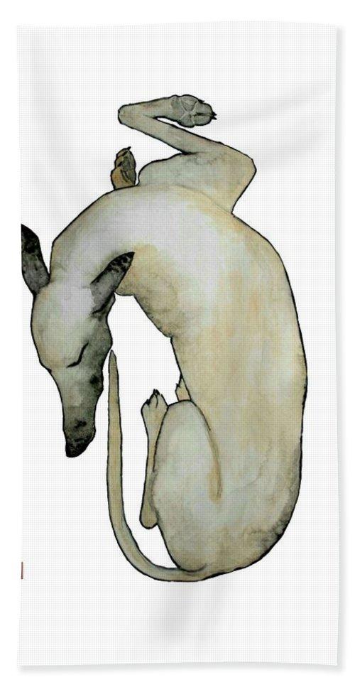 Dog Art Hand Towel featuring the painting Sleep II by Richard Williamson