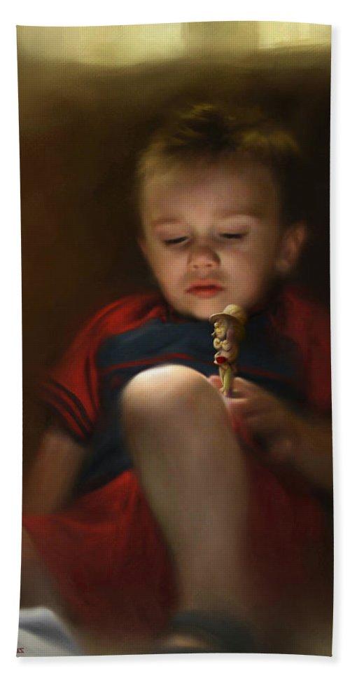 Boy. Figure Bath Sheet featuring the digital art Sleep Off To Wonderland by Stephen Lucas