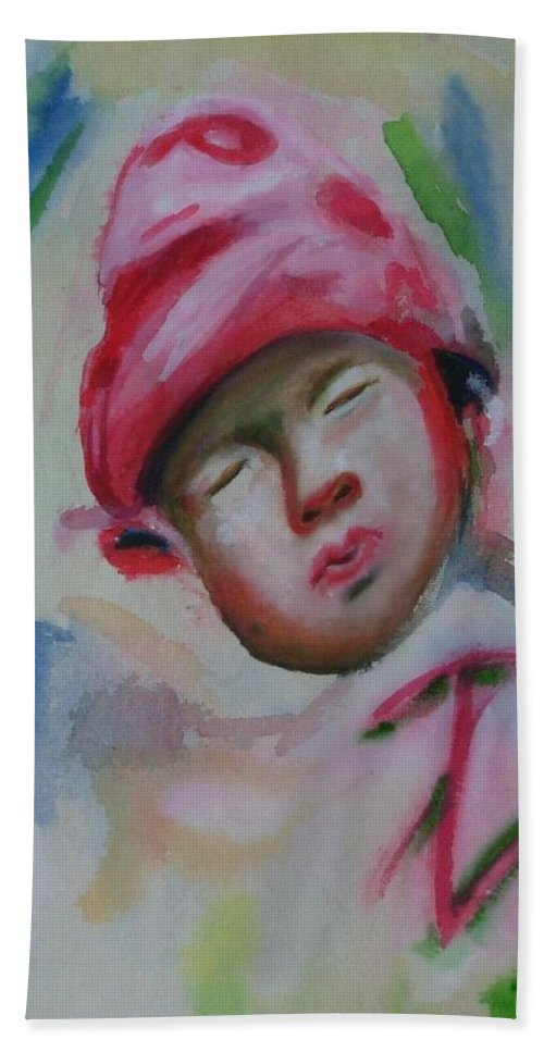 Watercolor Painting Hand Towel featuring the painting Sleeping Baby by Riya Rathore