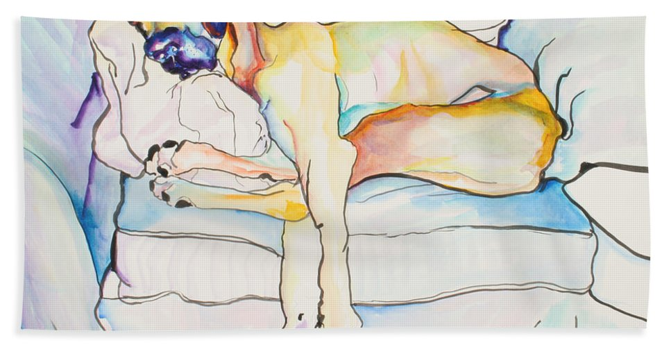 Great Dane Bath Sheet featuring the painting Sleeping Beauty by Pat Saunders-White