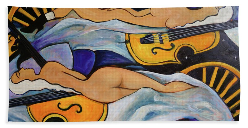 Musicians Hand Towel featuring the painting Sleeping Cellists by Valerie Vescovi