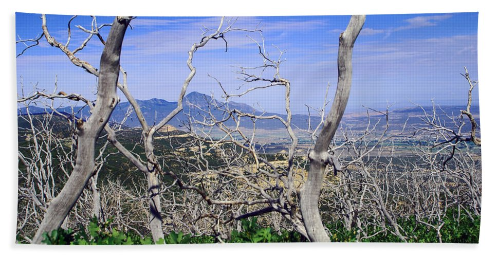 Landscape Bath Sheet featuring the photograph Sleeping Ute Mountain - From Mesa Verde National Park by Glenn Smith