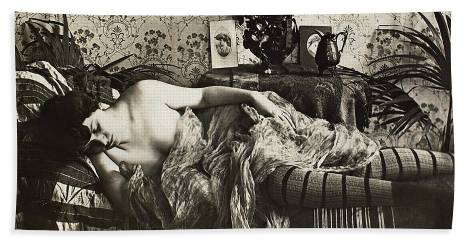 1900 Hand Towel featuring the painting Sleeping Woman, C1900 by Granger