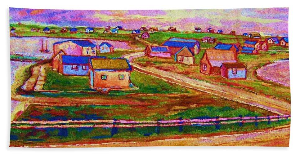 Sunrise Bath Towel featuring the painting Sleepy Little Village by Carole Spandau