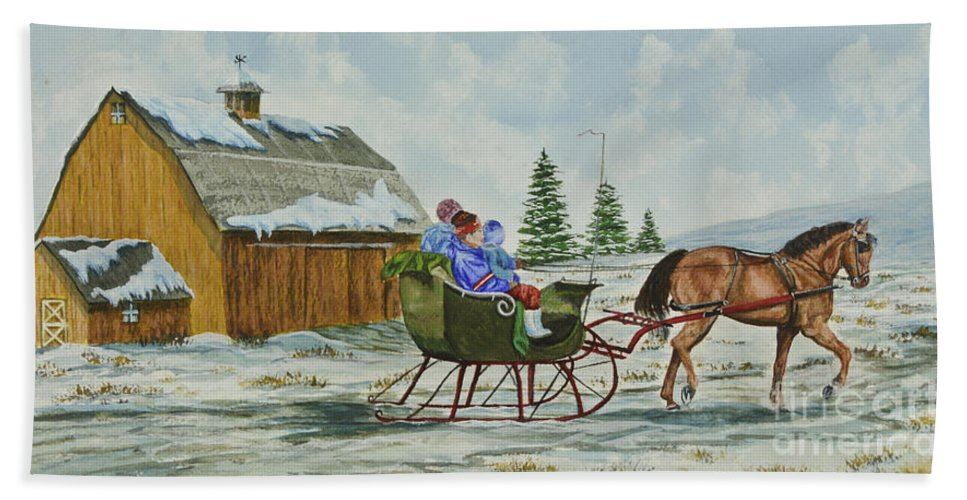 Country Kids Art Hand Towel featuring the painting Sleigh Ride by Charlotte Blanchard