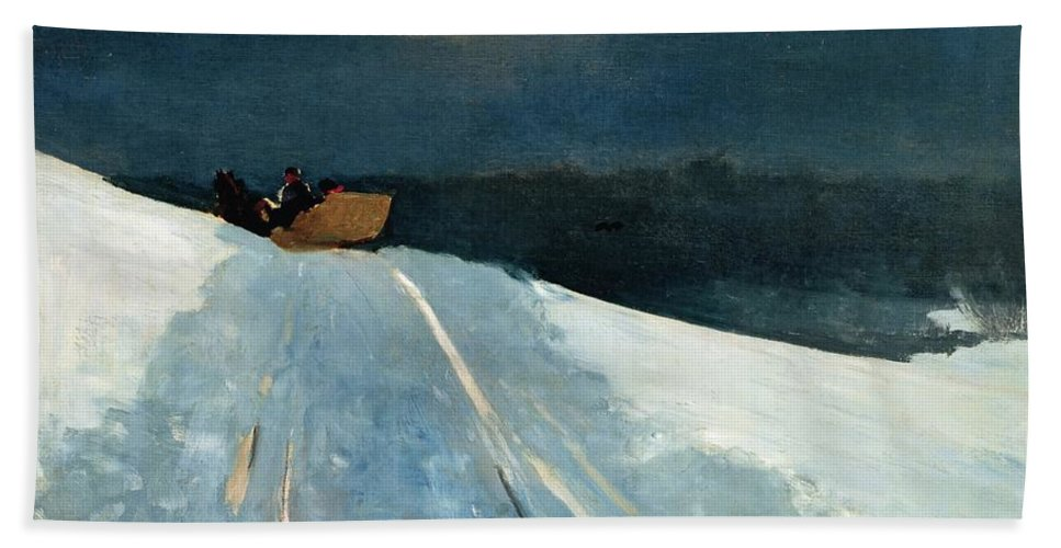 Winter Scene; Wintry; Snow; Snow-covered Landscape; Rural; Remote; Night; Darkness; Tracks; Path; Track; Moonlight; Sledge; Nocturne; Sleigh Ride Bath Sheet featuring the painting Sleigh Ride by Winslow Homer