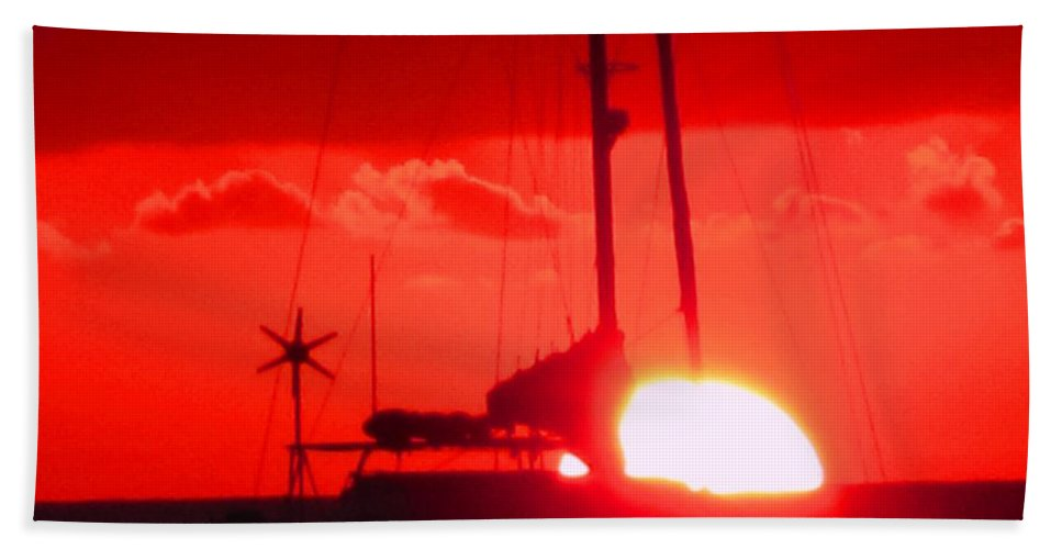 Sunset Hand Towel featuring the photograph Slipping Over The Edge by Ian MacDonald