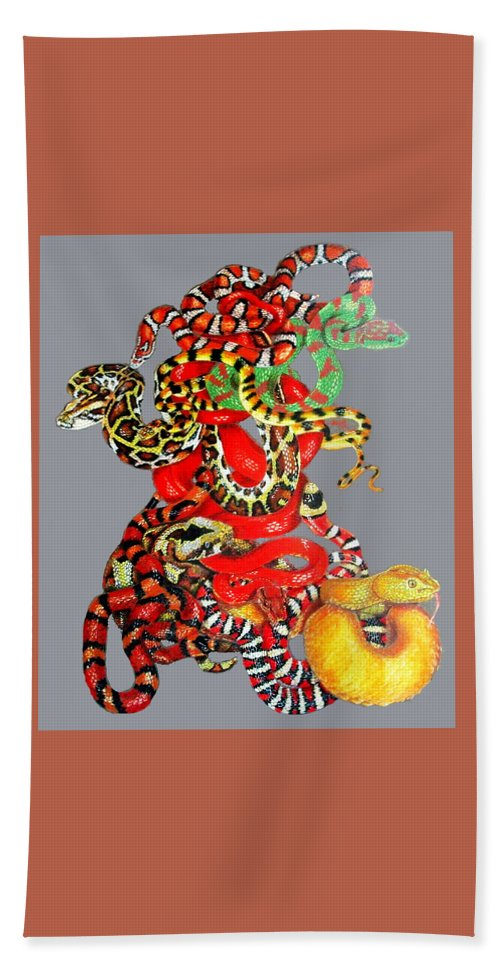 Reptile Hand Towel featuring the drawing Slither by Barbara Keith