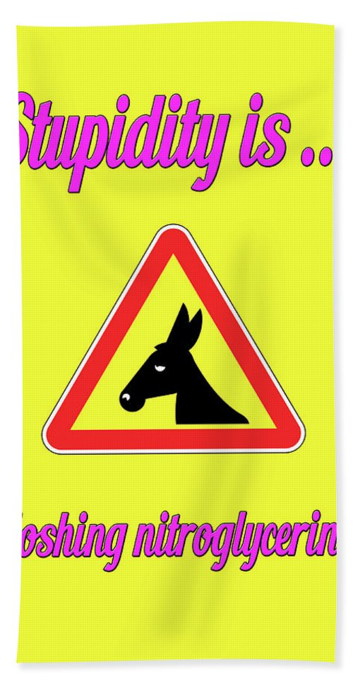 Funny Bath Sheet featuring the digital art Sloshing Bigstock Donkey 171252860 by Mitchell Watrous