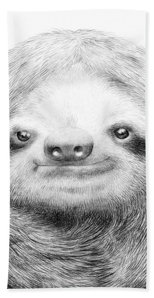 Sloth Bath Towel featuring the drawing Sloth by Eric Fan