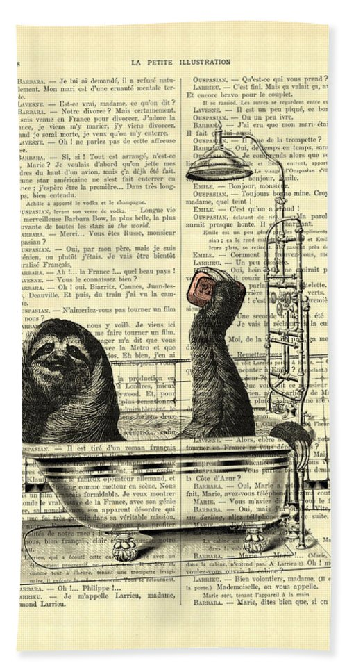 Sloth Hand Towel featuring the digital art Sloth, Funny Children's Art, Bathroom Decor by Madame Memento