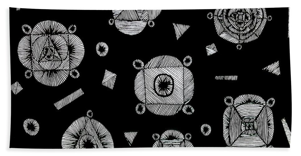 Abstract Drawing Bath Sheet featuring the drawing Slots Of Light Through The Darkness. by Neal Alicakos