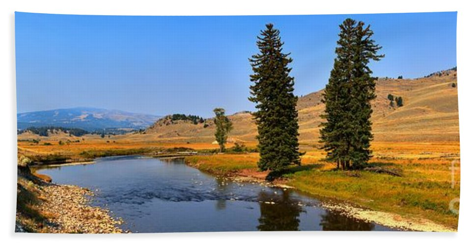 Slough Creek Hand Towel featuring the photograph Slough Creek Afternoon Panrama by Adam Jewell