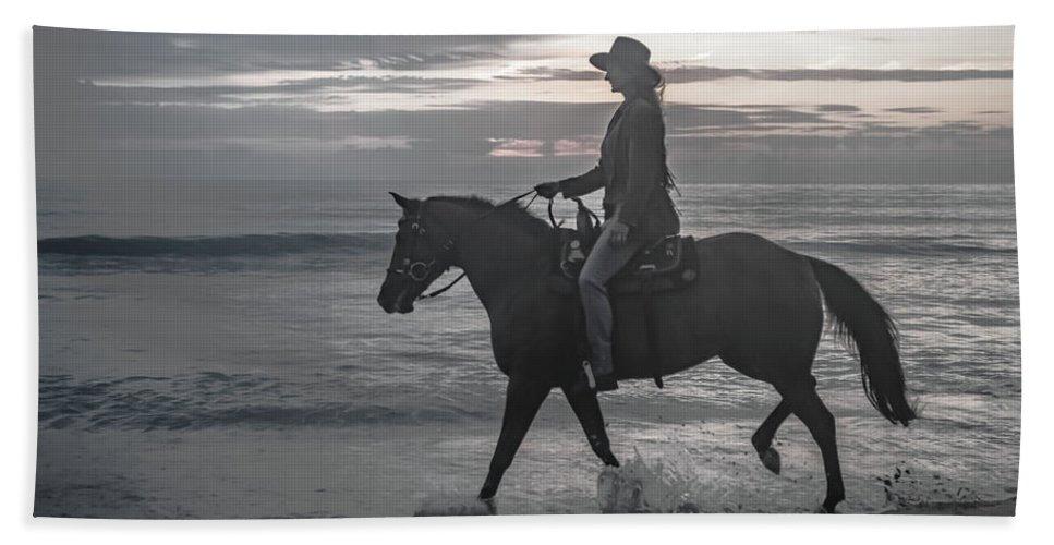 Florida. Rider Bath Sheet featuring the photograph Slow Ride by Janal Koenig