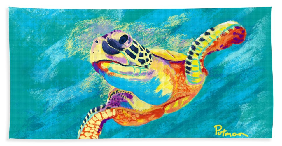 Sea Turtle Hand Towel featuring the digital art Slow Ride by Kevin Putman