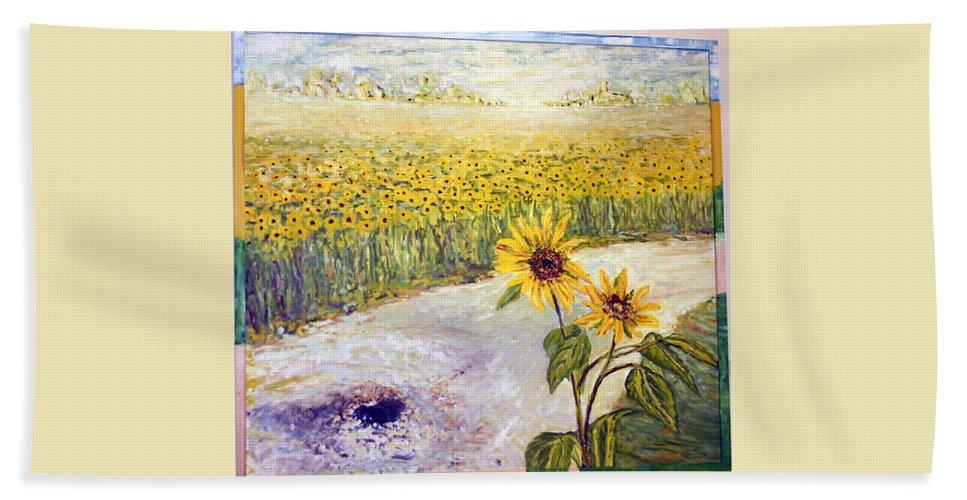 Landscape Hand Towel featuring the painting Slunecnice1 by Pablo de Choros