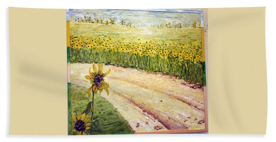 Landscape Hand Towel featuring the painting Slunecnice2 by Pablo de Choros