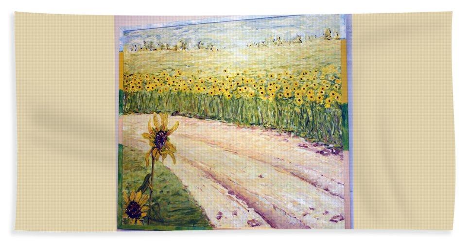 Landscape Hand Towel featuring the painting Slunecnice3 by Pablo de Choros