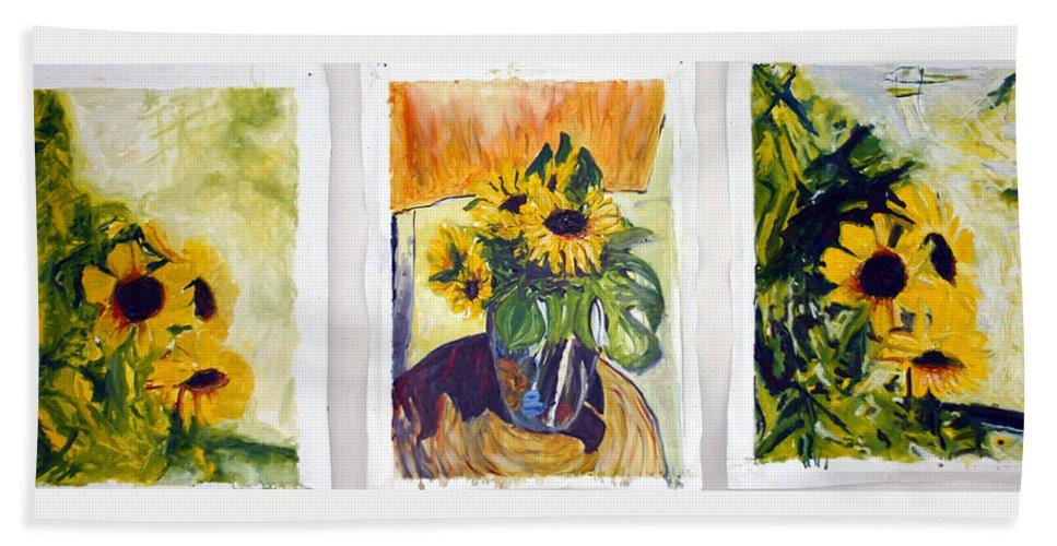 Landscape Bath Sheet featuring the painting Slunecny-triptych by Pablo de Choros