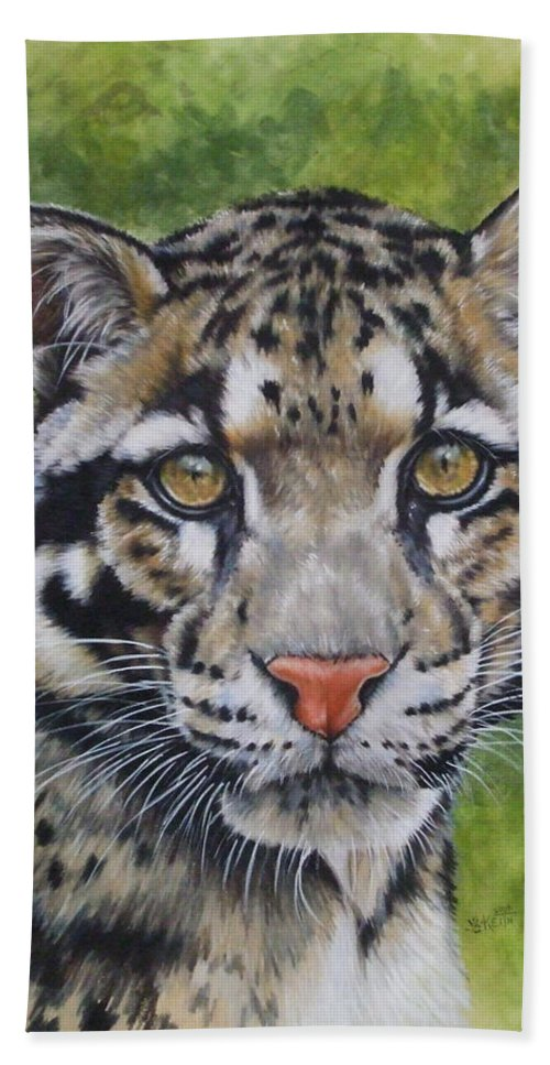 Clouded Leopard Bath Sheet featuring the mixed media Small But Powerful by Barbara Keith