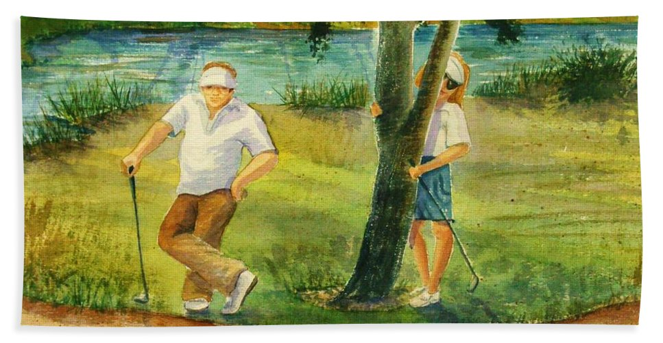 Golfers Hand Towel featuring the painting Small Golf Hazard by Marilyn Smith