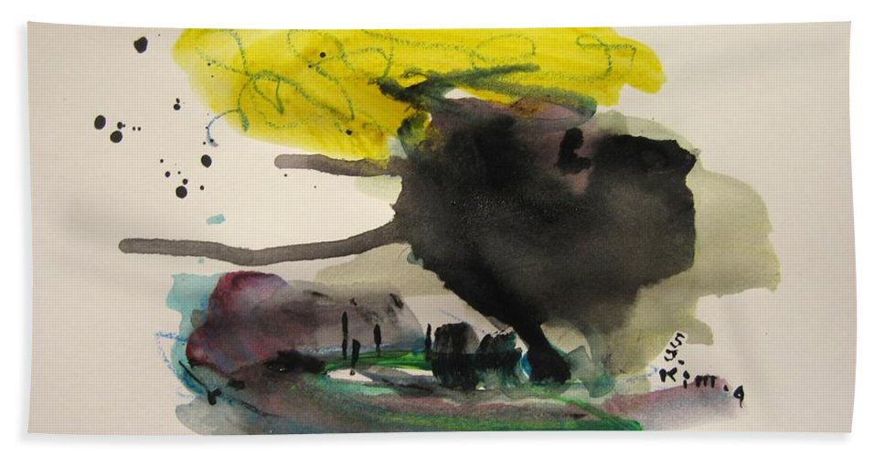 Abstract Paintings Bath Sheet featuring the painting Small Landscape16 by Seon-Jeong Kim