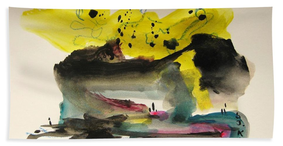 Aabstract Paintings Bath Sheet featuring the painting Small Landscape17 by Seon-Jeong Kim