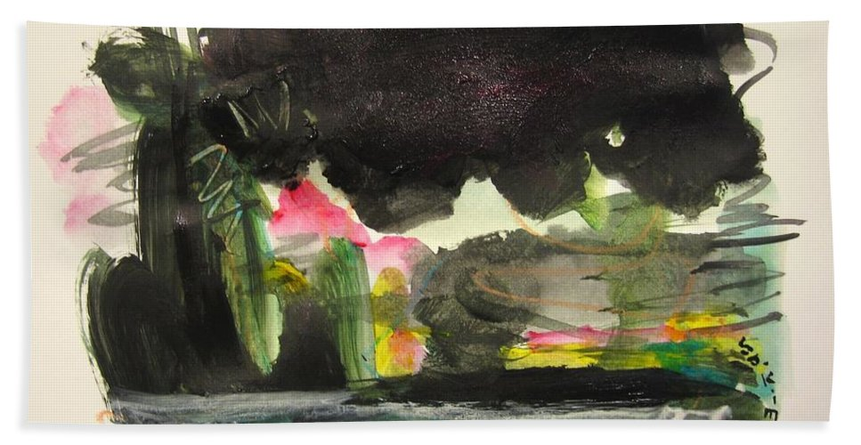 Abstract Paintings Bath Sheet featuring the painting Small Landscape34 by Seon-Jeong Kim