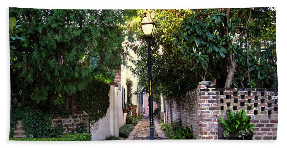 Lane Bath Sheet featuring the photograph Small Lane In Charleston by Susanne Van Hulst
